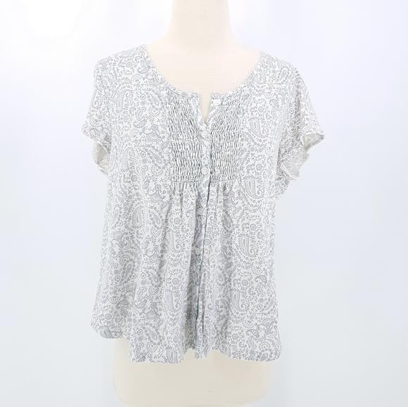 🆑Miss Elaine Grey White Paisley Floral Pajama Top